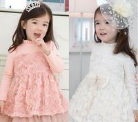 Wholesale - Autumn/winter/spring Children dress korean cotton net yarn Girls lace flower dress 2-7Year Kids Clothing 4p/l
