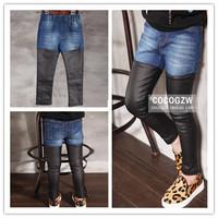 Hu Sunshine wholesale new 2015 Spring Autumn Fashion girls kids personalized pu leather denim patchwork leisure pants