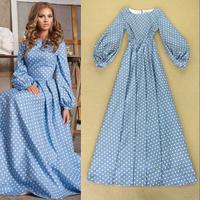 2014 Early Autumn Catwalk Noble Qualities Princess Wind Retro Polka Dot Printed Maxi Dress Slim Celebrity Dress 0825