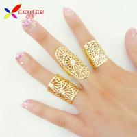 2014 New Christmas Gift fashion hot women's golden finger ring adjustable hollow flower 3designs/set  bijoux anillos wholesale
