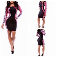 Women Summer Dress 2014 New Solid Black Long Sleeve Neon Tribal Print Bodycon Bandage Party Dress