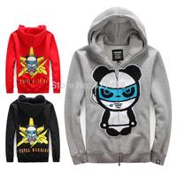 2014 new Hi panda sweatshirt autumn and winter plus velvet thickening cardigan hooded panda print outerwear free shipping