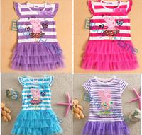 Wholesale kids dress Pappe pig Children's cotton clothing short sleeve t-shirt princess skirt kids clothing free shipping