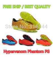 2014 Hypervenom Phantom Premium FG Athletic soccer football boots shoes, gold/red/orange/blue, size 39-45