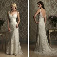 Elegant White/Ivory A-Line Spaghetti Straps  Wedding Dress High Quality V-Neck Lace Wedding Gown cl019