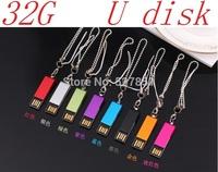 Free shipping mini Pen drive 32GB metal Key Chain Clip style USB flash drive 2.0 Pen memory U disk