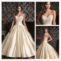Beautiful White/Ivory A-Line Beaded Wedding Dress Fashion Sweetheart Satin Wedding Gown cl030