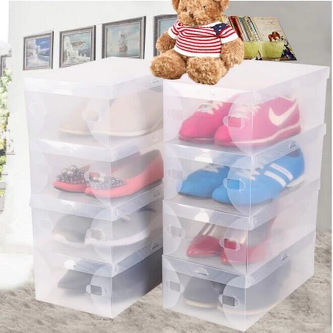 2014 Glossy Top Fashion Makeup Organizer 20pcs/lot Transparent Shoe Boxes Plastic Storage Box Sizes for Men Women Kids Packaging(China (Mainland))