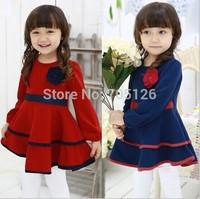 New 2014 Spring Autumn Kids Wear Girls Flowers Children Dress Long Sleeve Princess Dresses 5pcs/lot