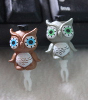 20 pcs Animated cartoon Brown and gray owl anti dust plug High quality resin earphone plug cell phone accessories jewelry