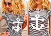 2014 New Fashion Women T Shirt Hot Selling Anchor Printed Long Striped Rock Shirts Spring  Tops For Women short T-shirt  952