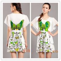 2014 autumn fashion women's viscose o-neck short-sleeve dress