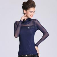 2014 plus size clothing slim female long-sleeve t-shirt lace top gauze basic shirt