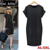New 2014 Women Summer Dresses,Black Grey Solid Color Plus Size Dress for Women,Casual Street Style Women Clothing,XXXL 4XL 5XL