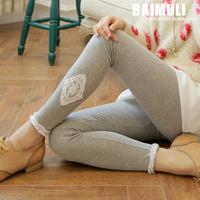 High Quality 2014 New Autumn Womens Elastic Waist Lace Slim Leggings Lady Casual Applique Thin Trousers&Leggings