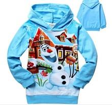 Retail 2014 Fashion boys girls Frozen Olaf long sleeve hoody t-shirt,Children Spring/autumn Outerwear jackets, kids sweatshirts(China (Mainland))