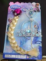 headband acessorios para cabelo headware princess elsa wig + magic wand crown frozen cosplay accessories 10pcs/lot toy tools