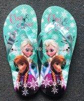 2014 New Arrival Special Offer Pvc Pu Summer Shoes Frozen Shoes Girls Sandals Princess Elsa Children Beach Flip Flops 7pairs/lot