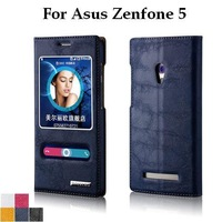 High Quality Luxury Flip Leather Case For Asus Zenfone 5 Double Window Protective Stand Cover Case Colorful Free Shipping+Film