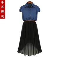 Fashion women's 2014 denim patchwork dovetail chiffon short-sleeve dress