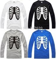 Free shipping 2014 new sale hiphop t shirt skeleton print skull tee shirt 100% cotton long sleeve t-shirt 6 color