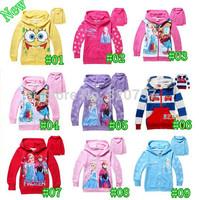 10colour 2014 Kids FROZEN Elsa Anna Hooded Long Sleeve children Zipper Hoodies cartoon top kids t shirts baby hoody coat QY125,