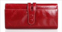 2014 New women wallet oil wax leather ladies purse and handbags fashion clips leather wallets 5 color