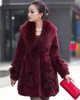 new 2014 winter High quality 100% fox fur collar,natural Full Pelt rabbit Fur coat women long clothing 6981