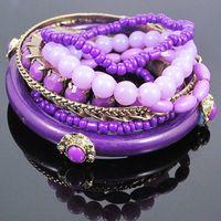 Hot sale 2014 NEW fashion blue purple orange Vintage Bohemia Bangle Sets Jade Beads Bangle Turquoise Beads 9 pcs Bangle bracelet