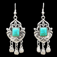 Bohemian Style  Antique Silver Plated Exotic Fruit Apple Pendant  Turquoise Dangle Earrings TE81