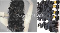 new 2014 4 pcs lot Body Wave 3 Part Lace Closure With 3pcs Bundles Peruvian Virgin Hair Unprocessed  Hair Weft Extension