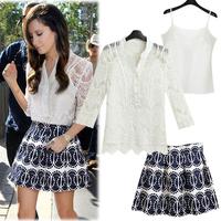 2014 spring and summer fashion women's crotch fashionable casual lace chiffon shirt top female piece set