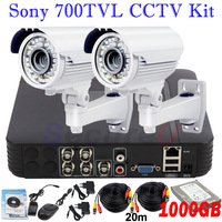 Free shipping Sony 700TVL CCTV camera surveillance video system installation D1 4CH DVR digital video recorder with 1000GB HDD