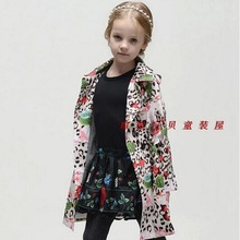 Top Quality 2014 new brand girls coat designer children double breasted print coat baby kids outerwear