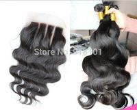 new arrival 4 pcs lot Body Wave 3 Part Lace Closure With 3pcs Bundles Peruvian Virgin Hair Unprocessed Human Hair Weft Extension