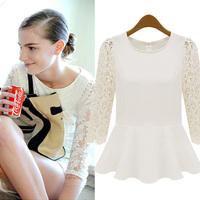 2014 spring fashion women's lace patchwork long-sleeve chiffon shirt
