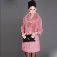 Fashion new Korean female mink fur fake fur coat oversized fox fur collar fur  coats long sections