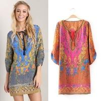 Women Summer Dress 2014 Vintage Floral Print Long Sleeve Chiffon Mini Dress Casual Women Loose Beach Boho Roupas Femininas 7239
