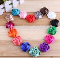 "Free Shipping!100pcs mini 1.5"" satin silk rosette hair flower for baby girl children fashion hair accessory 2014,16colors"