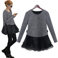 2014 summer women's autumn and winter one-piece dress twinset long-sleeve slim basic skirt