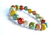 Charm ceramic Jewelry accessories elastic color glaze kiln bracelet 1086 for Fashion Women Christmas gift Free Shipping