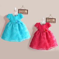 Wholesale 5 pieces frozen dresses for girls rosette dress blue hot pink