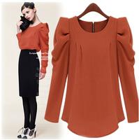 2014 New fashion European and American ladies/Women's zipper shrug round neck long-sleeved shirt Slim Puff sleeve t-shirt LQ8328