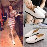 Free shipping in the summer of 2014 new female low help shoes PU leather flat high quality wholesale han edition tide