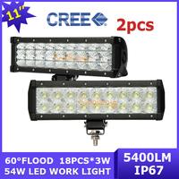 "2X Cree led headlight 18X 3w Flood beam 10.5"" led light bar 54w 4x4 SUV offroad lamp truck 9-32V IP67 5400LM free shipping"