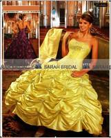 SD082 New Arrival quinceanera dresses 2014 sexy ball gown floor vestido de festa Yellow Quinceanera dresses Ball gowns