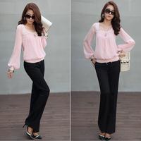 2014 Woman Blouse Chiffon Blusas Renda De Camisa Women's Blouses Shirts Tops Blusa Woman's Tops Camisete Feminina Long HTHNCS001