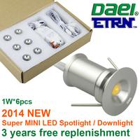 Daei ETRN Brand 2014 new product 1W x 6pcs 6W MINI LED Spotlight LED Cabinet Light LED Recessed Light TM01Y-1W6 Free Shipping