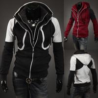 Free shipping 2014 New Hot Sale Fashion men Casual Slim with a hood sweatshirt, double zipper design splicing hoodies men