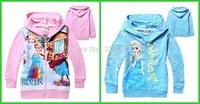 Retail ,2014 Kids FROZEN  Elsa Anna Hooded Long Sleeve children Zipper Hoodies T shirt baby girl coat Pink blue colour QY127,